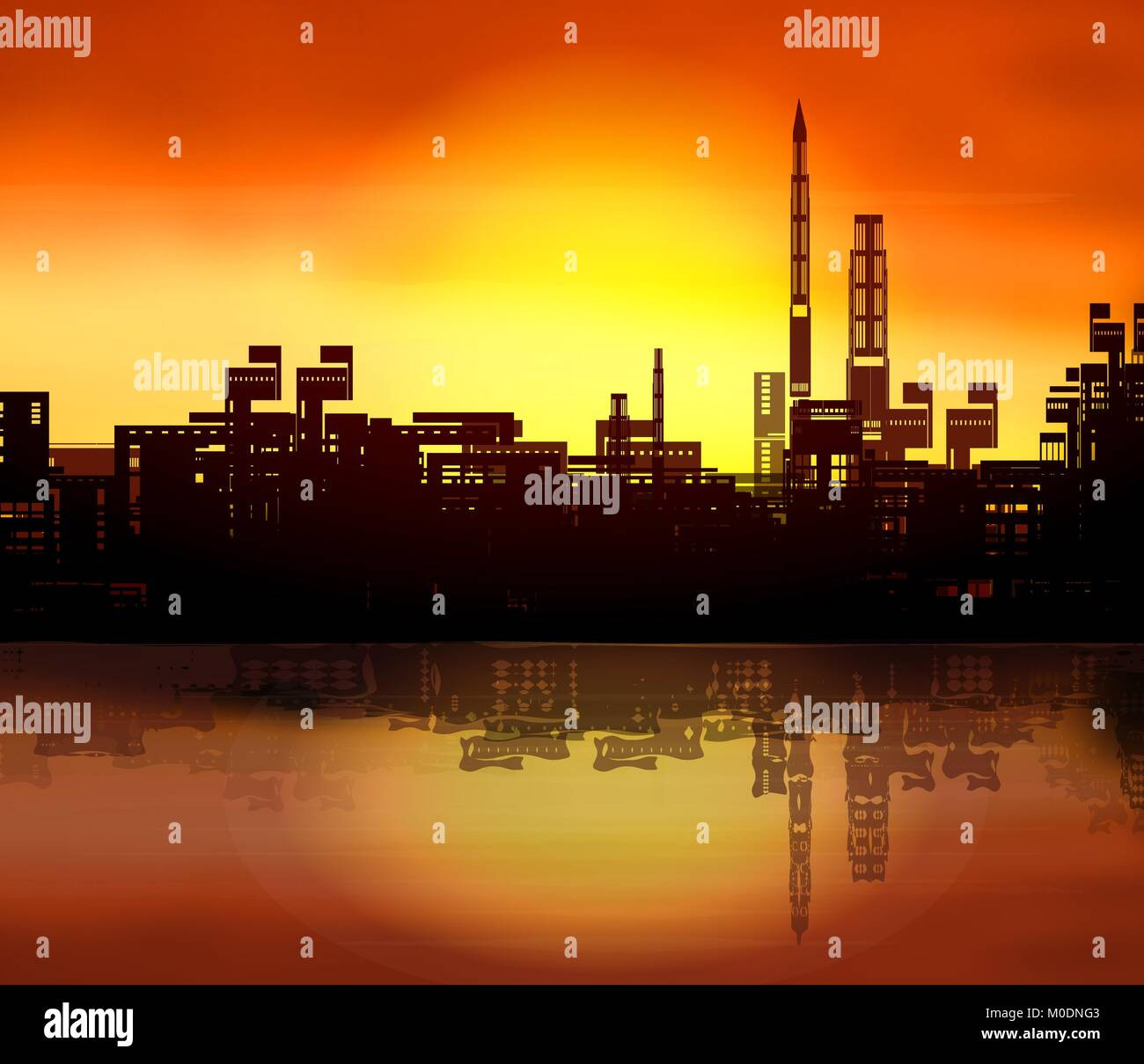 Sunset over a big city - Stock Vector