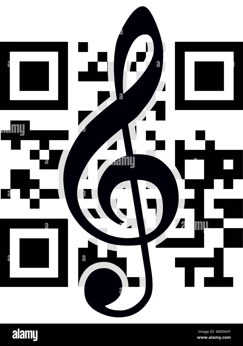 2D barcode and treble clef. Vector illustration. - Stock Image