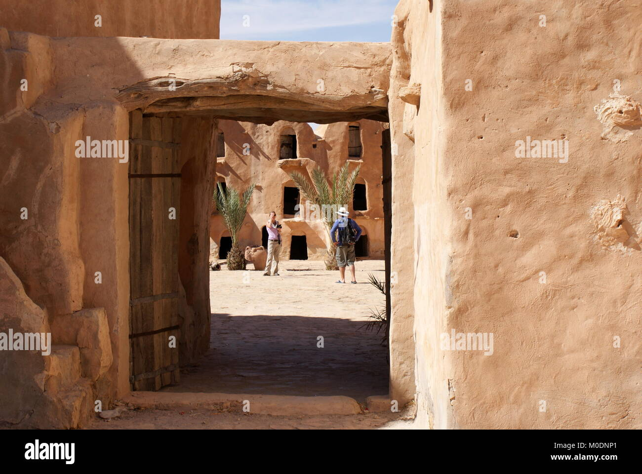 View through doorway to Ksar Ouled Soltane, fortified granary, Tataouine district, Tunisia Stock Photo