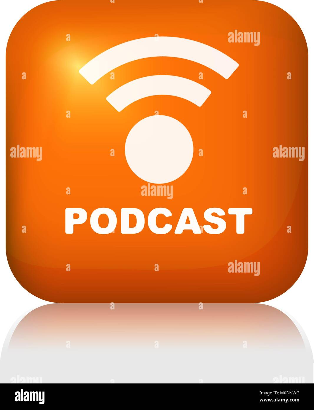 Glossy button podcast for web or other design - Stock Image