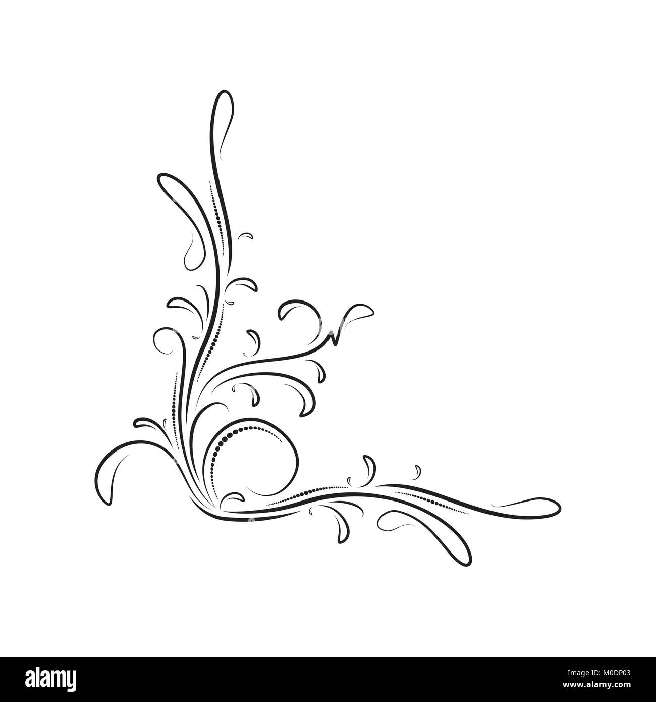 Stylized Flower Corner Design Black And White Stock Photos Images