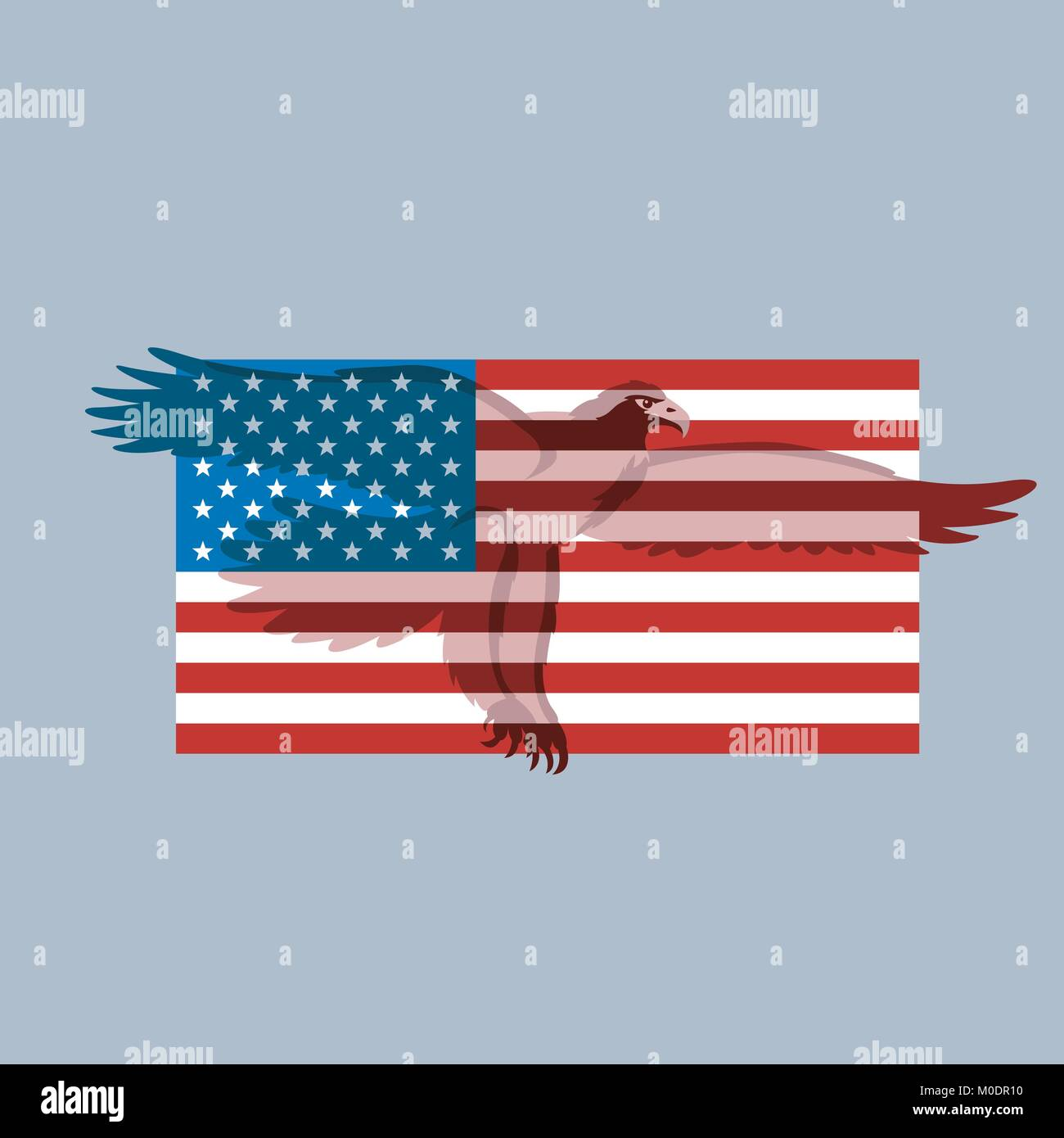 Eagle On The Usa Flag Vector Illustration Flat Style Silhouette
