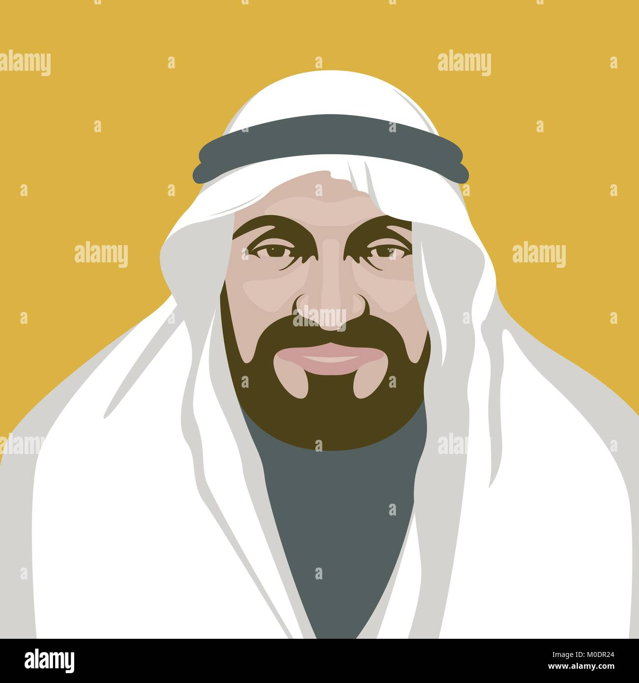 arabian man  face vector illustration flat style front  view - Stock Vector