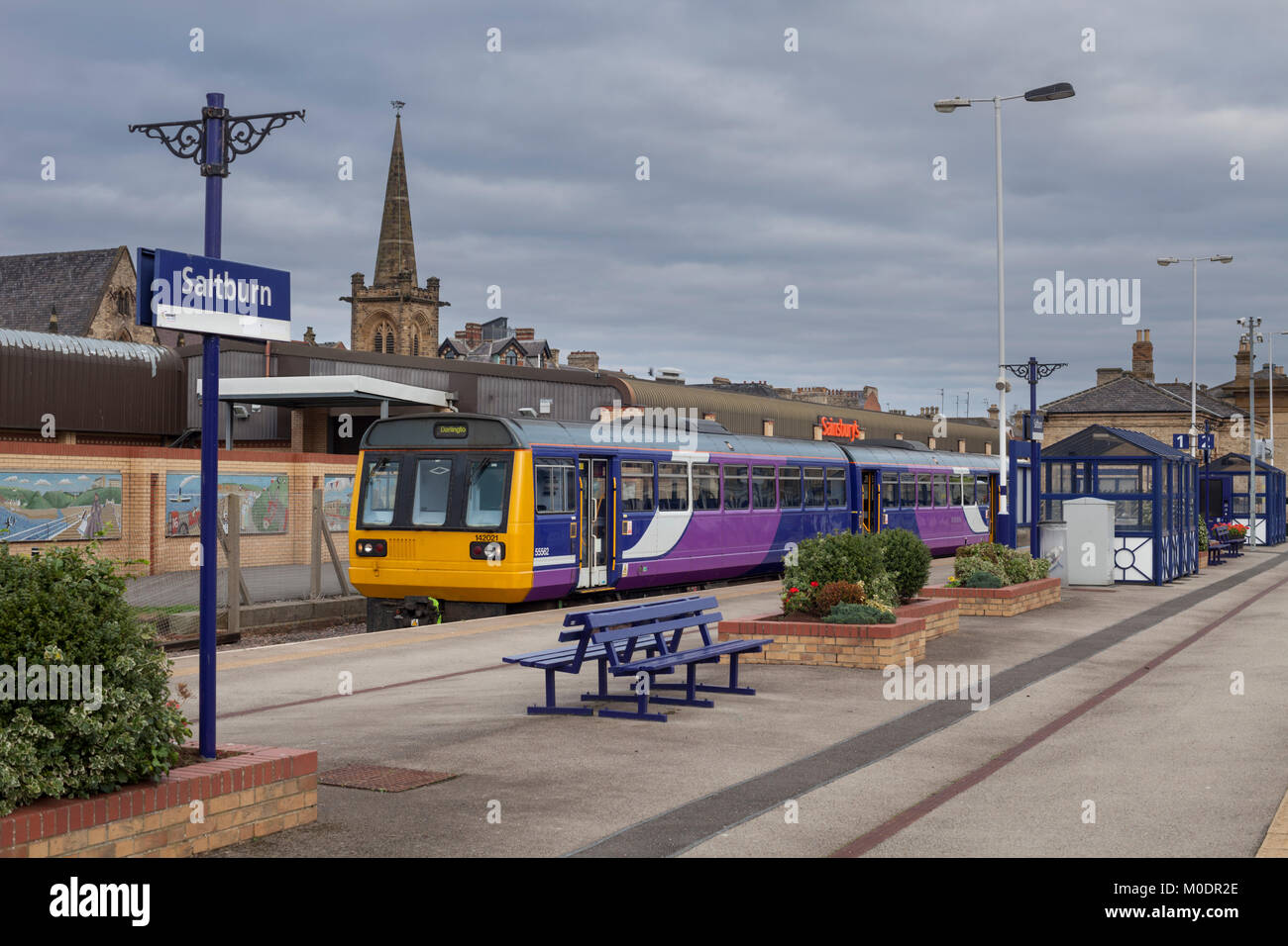 Northern rail class 142 pacer train at Saltburn station - Stock Image