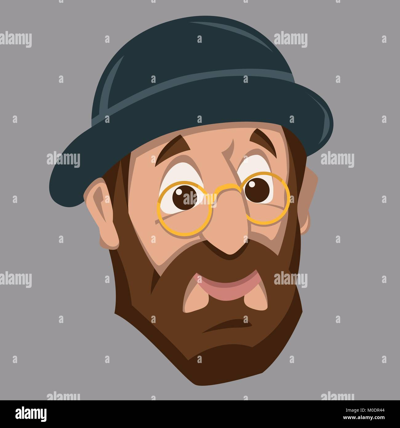 face old jew man head cartoon flat style front side - Stock Vector