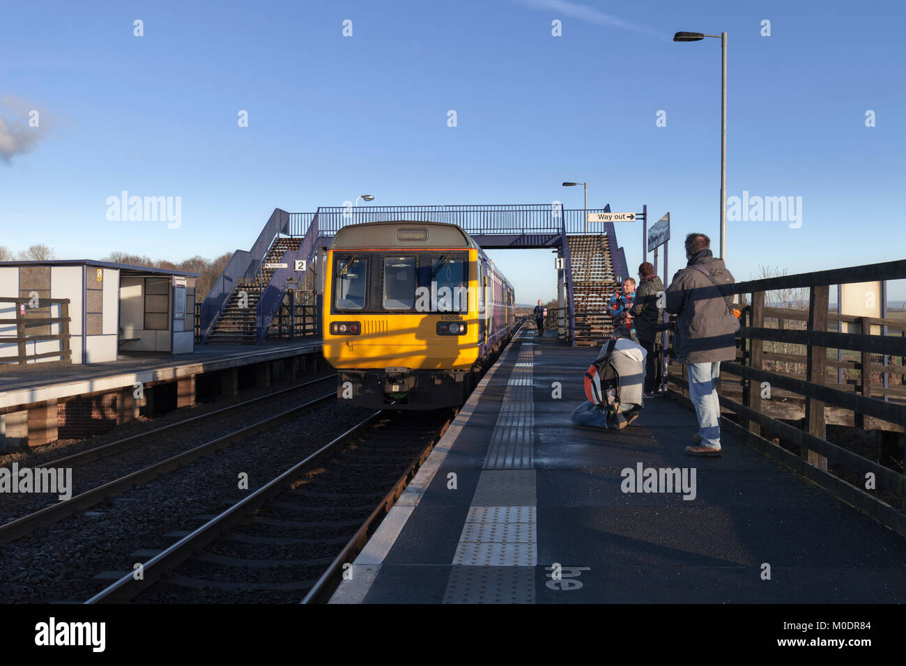 07/01/2018 Teesside Airport the Sundays only 1425 Hartlepool - Darlington 'ghost  train' calls, the only - Stock Image