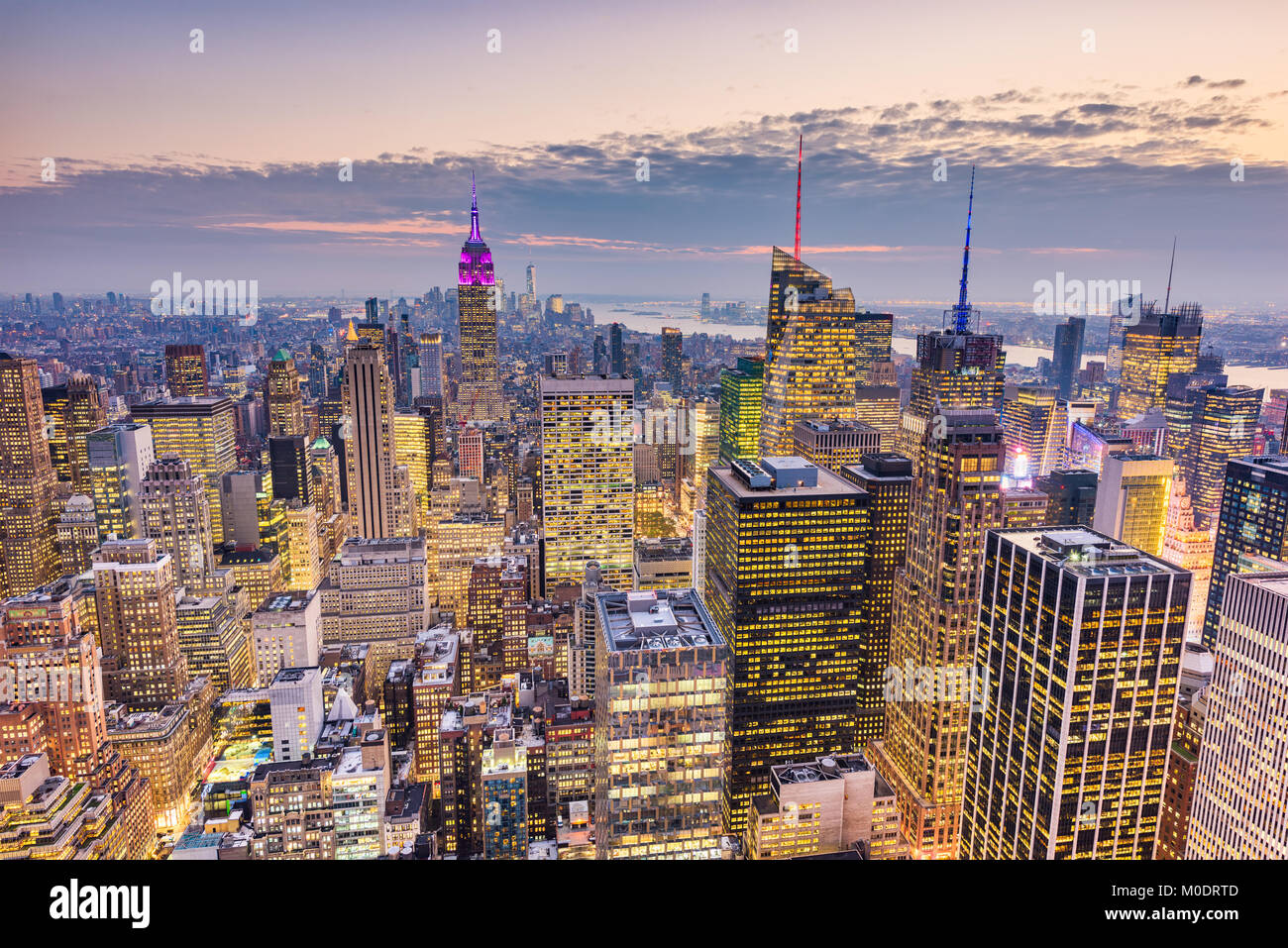 New York City, USA midtown Manhattan financial district cityscape at dusk. Stock Photo
