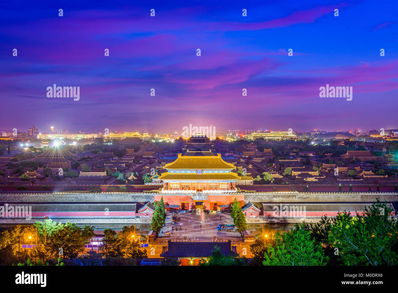 Beijing, China forbidden city outer wall and gate. - Stock Image