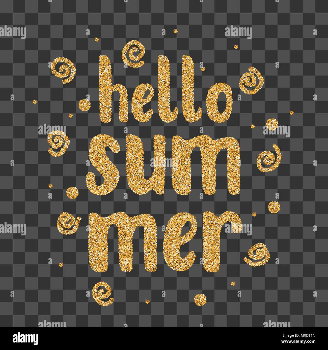 Hello summer golden sparkle confetti text - Stock Image
