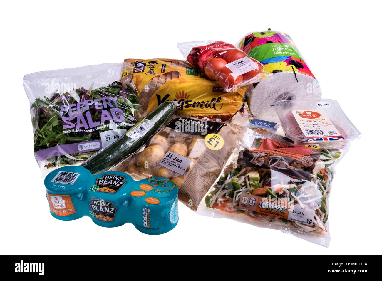 A range of supermarket products with different types of plastic wrapping. - Stock Image