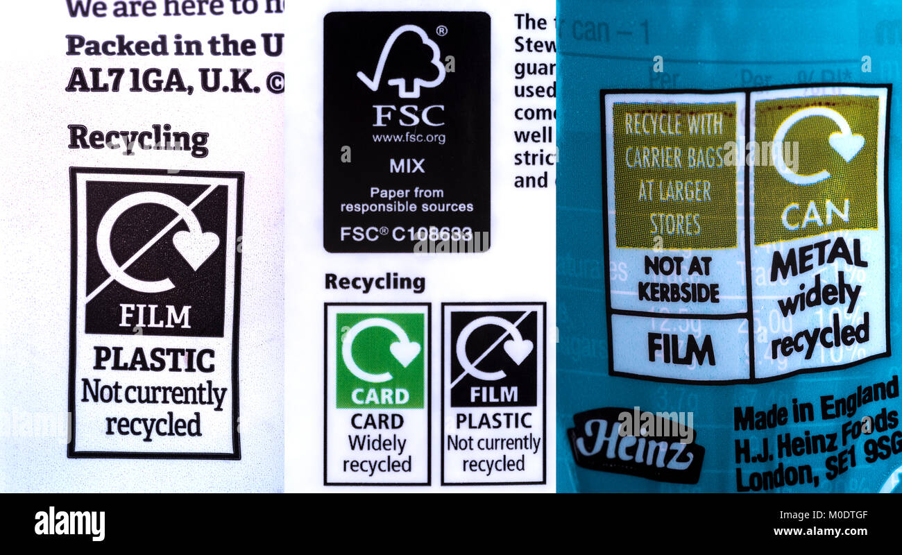 Composite of some recycle labels, indicating some plastic products as non recyclable. - Stock Image