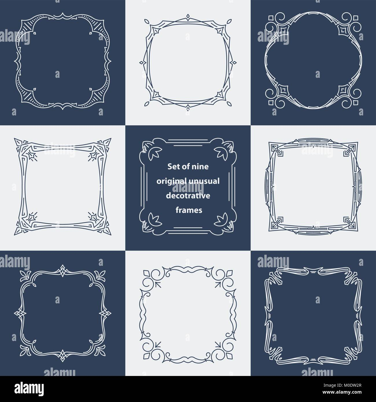 dcd7c842d73e Set of 9 unusual decorative vintage frames in mono line style. Abstract  vector illustration for