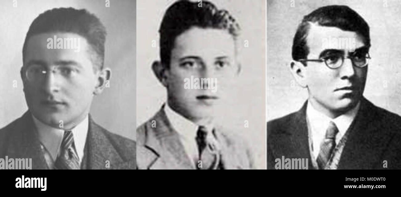 Marian Rejewski, Jerzy Różycki and Henryk Zygalski, Polish mathematicians and cryptologists who worked at breaking Stock Photo