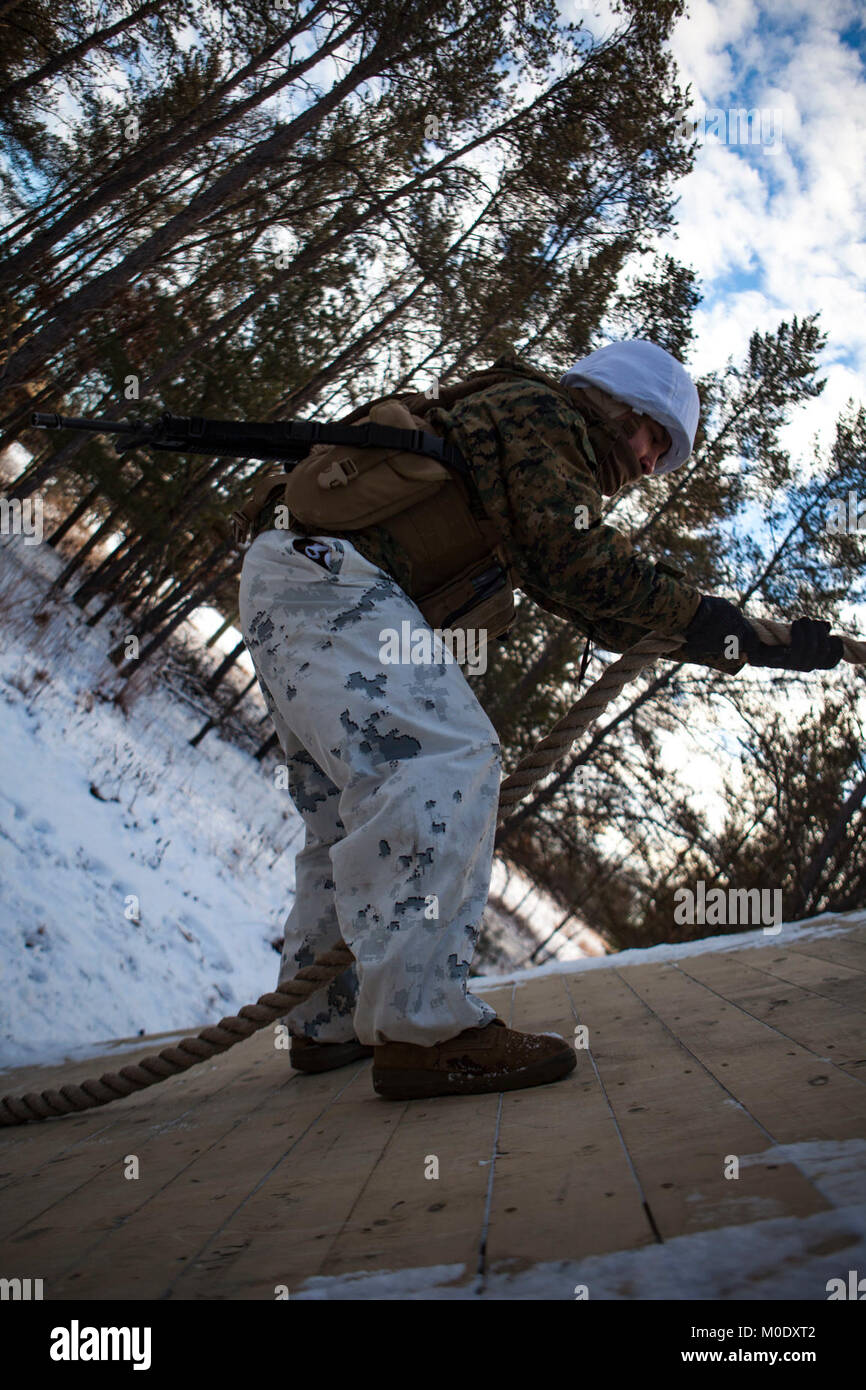 U.S. Marine Lance Cpl. Daniel Dejesus, a Data Systems Administrator assigned to Marine Wing Communications Squadron 48, participates in a team building exercise on the Field Leadership Reaction Course during Ullr Shield on Fort McCoy, Wis., Jan. 18, 2018. Ullr Shield is a training exercise designed to improve 2nd Marine Aircraft Wing's capabilities in extreme cold weather environments. (U.S. Marine Corps Stock Photo