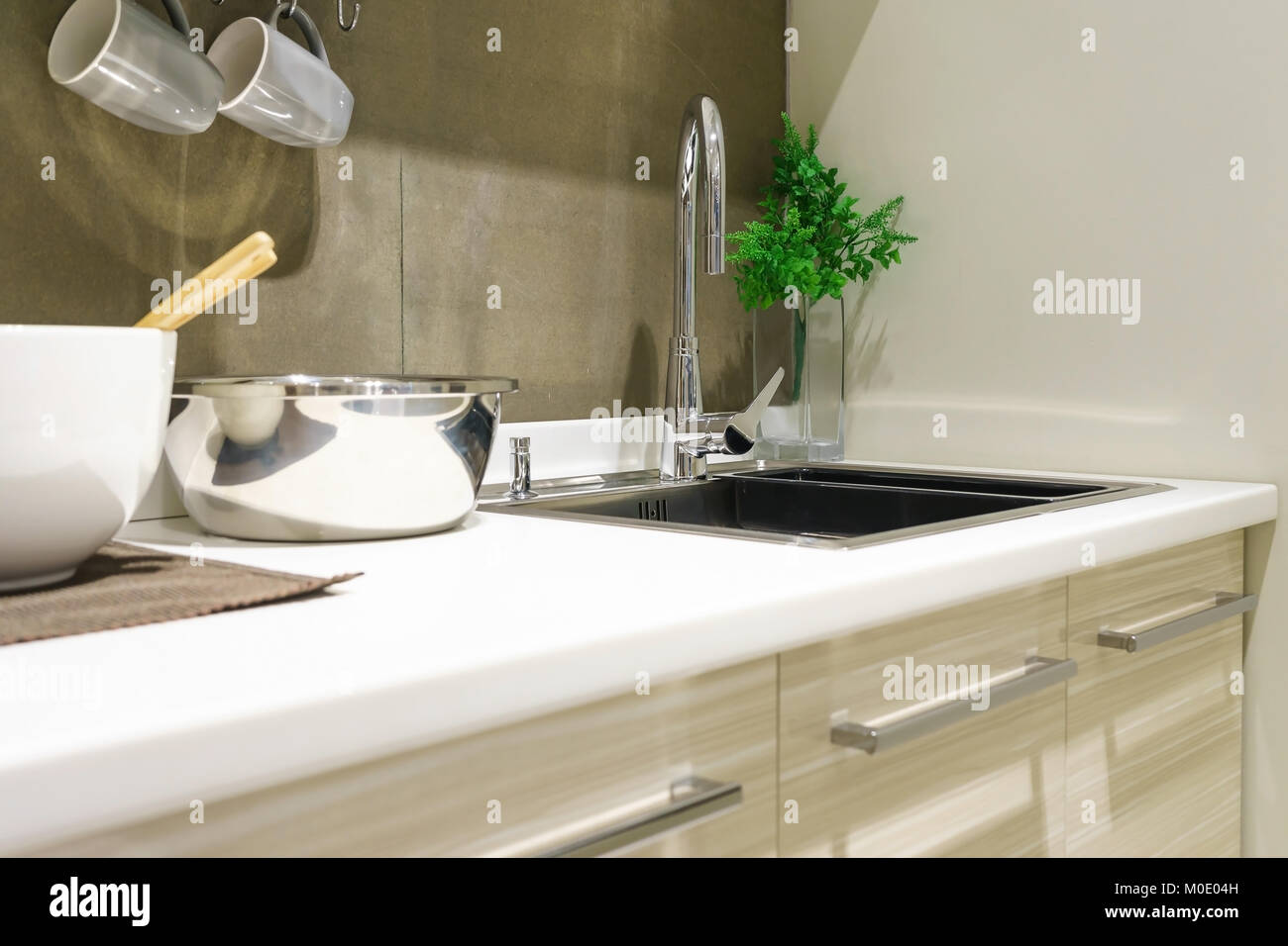 Modern White Kitchen Countertop With White Granite Custom Counter Stock Photo Alamy