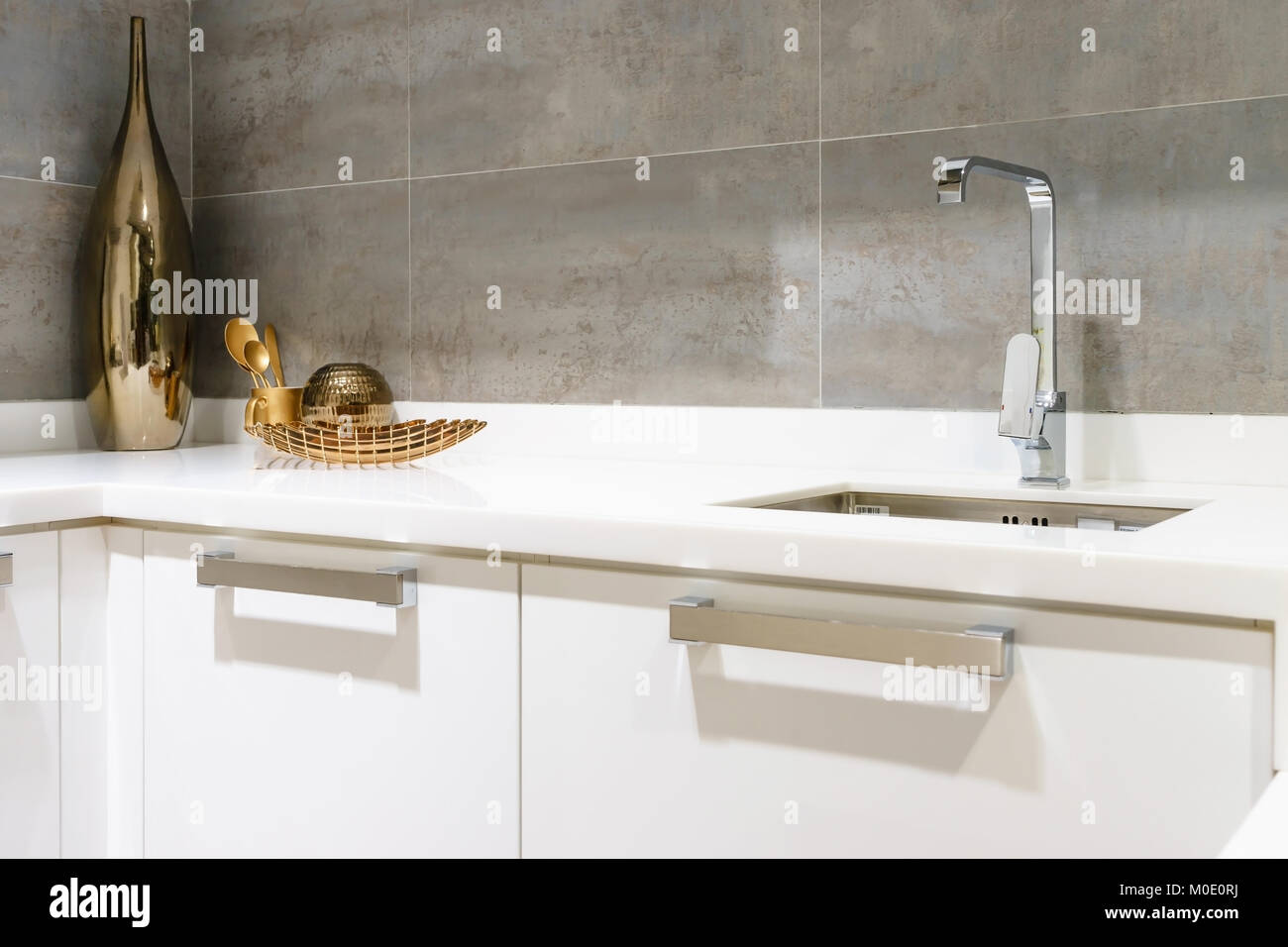 Modern White Kitchen Countertop With White Granite Custom Counter Stock Photo Alamy