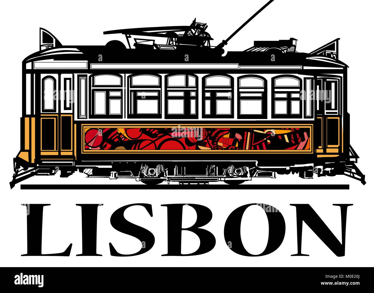Old classic yellow tram of Lisbon - vector illustration - Stock Vector