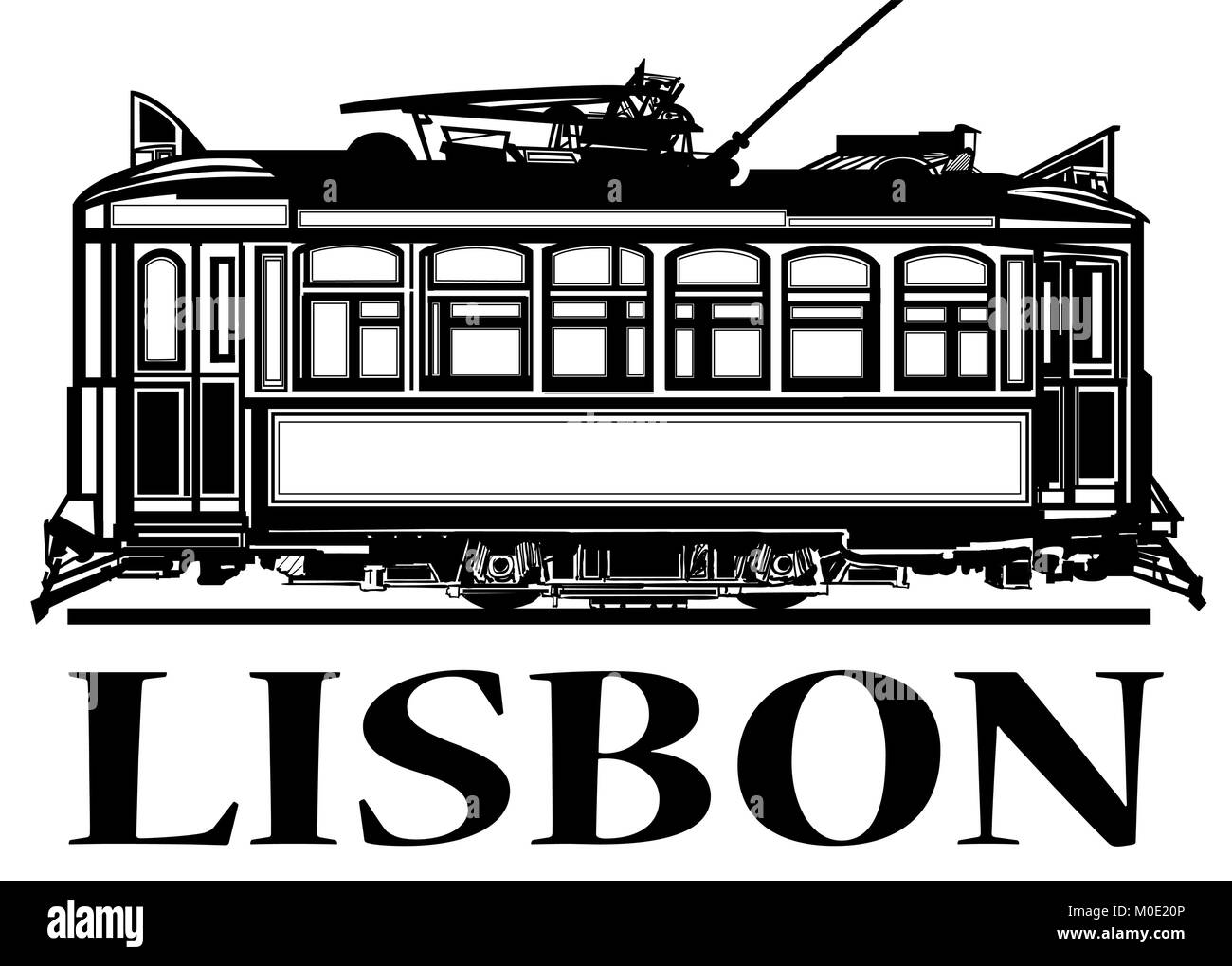 Old classic tramway of Lisbon - vector illustration - Stock Vector