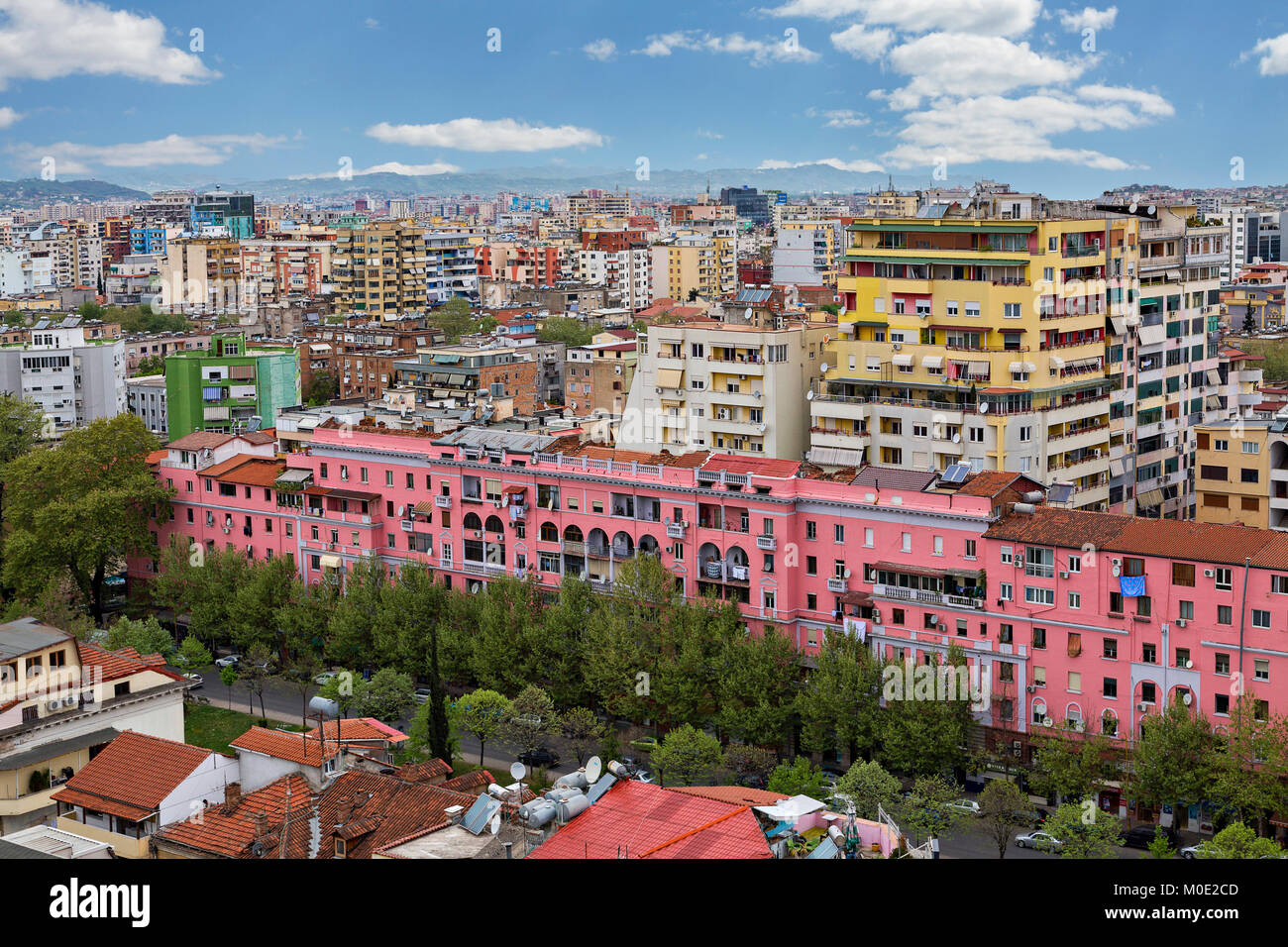 Colorful apartment buildings in Tirana, Albania - Stock Image
