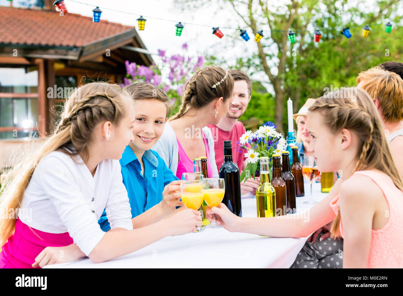 Garden party for family and neighbors  - Stock Image