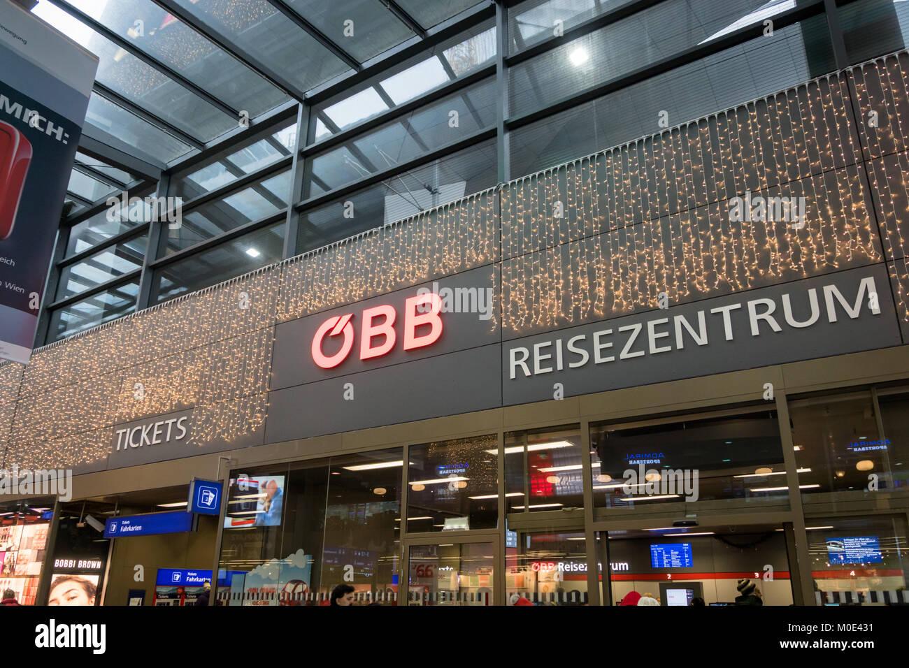 Vienna, Austria - December 2017: OBB ticket service center at the main railway station in Vienna. OBB, The Austrian - Stock Image