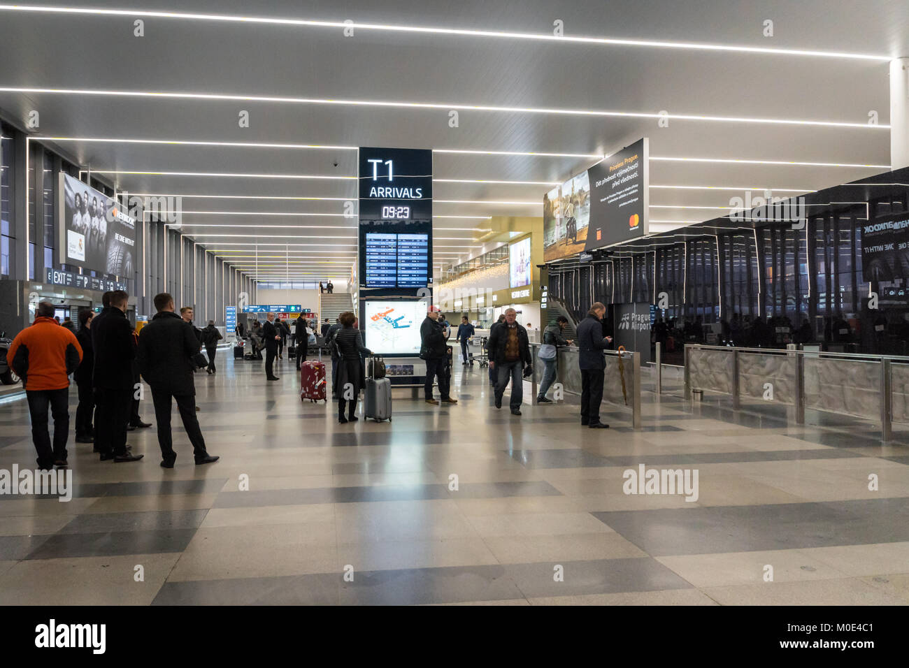 Prague, Czech Republic - December 2017: Arrival area of Vaclav Havel Airport Terminal, formerly known as Ruzyne - Stock Image