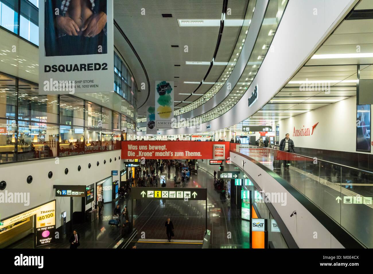 Vienna, Austria - December 2017: Vienna Schwechat Airtport Terminal 3 building. Vienna Airport is the largest airport - Stock Image