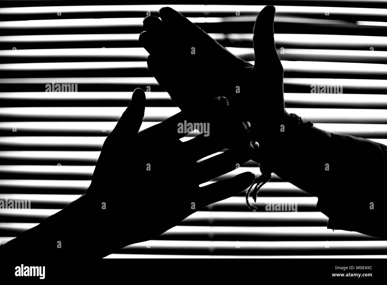 Striped pattern background for man silhouette and handshake silhouette dark figure Stock Photo