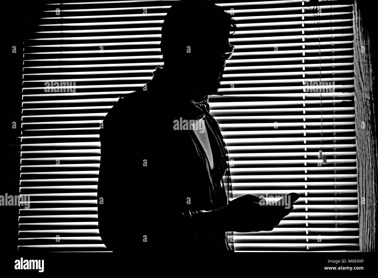 Striped pattern background for man silhouette and handshake silhouette dark figure - Stock Image