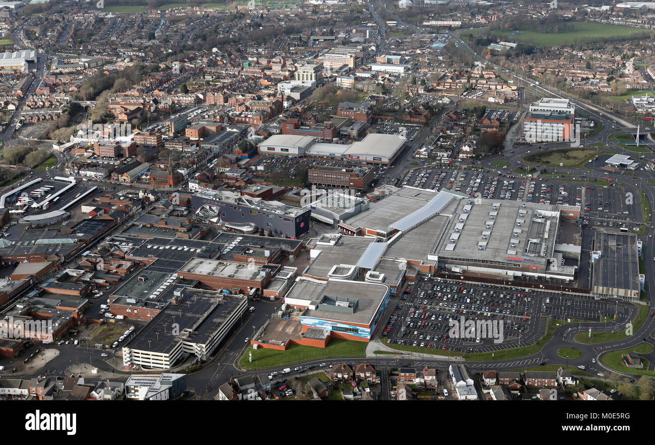 aerial view of Tescos & Primark at Sandwell, West Bromwich, Birmingham, UK - Stock Image