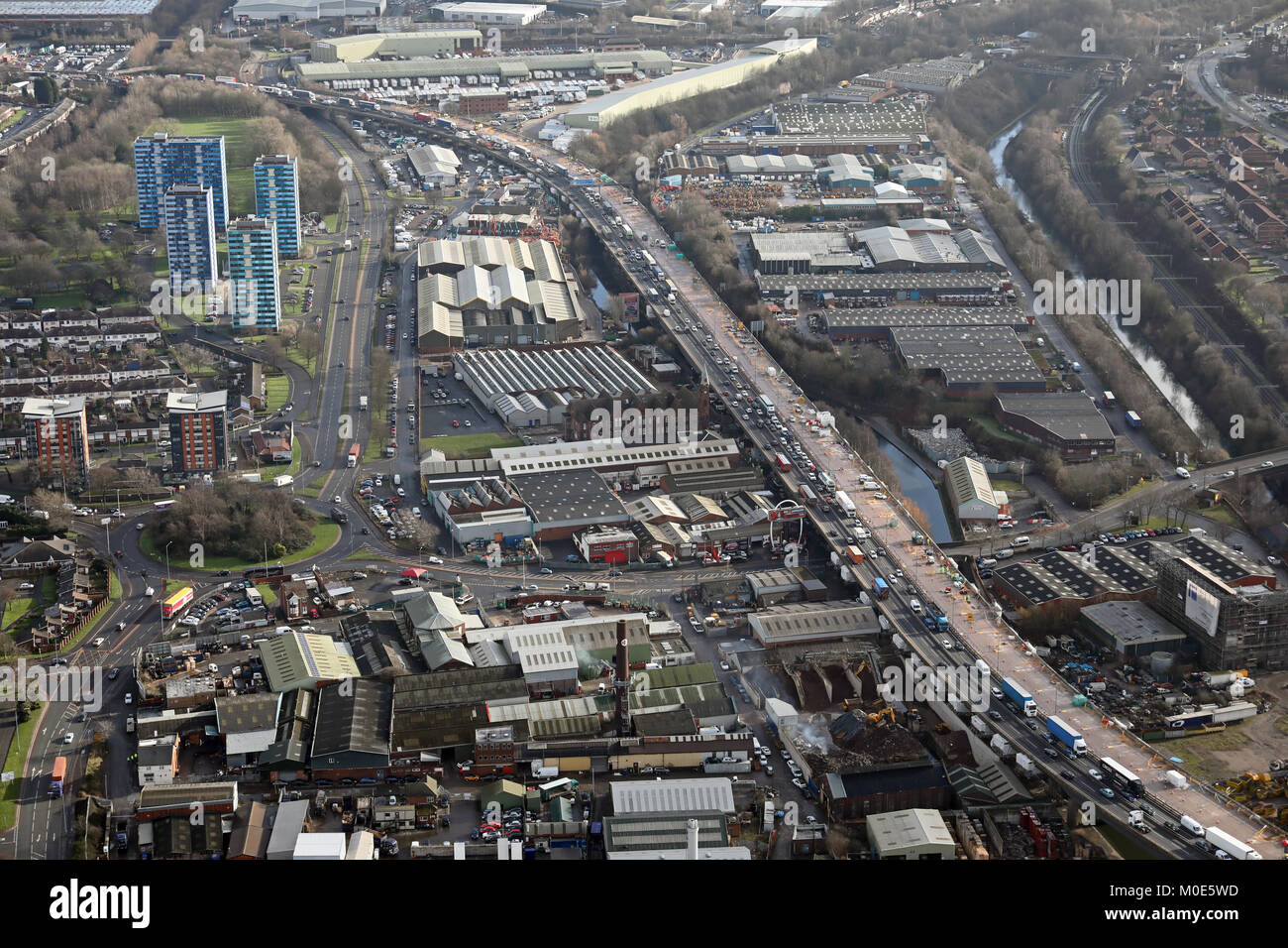 aerial view of roadworks & traffic on the M5 at Kenrick Way, West Browmwich, Birmingham, UK - Stock Image