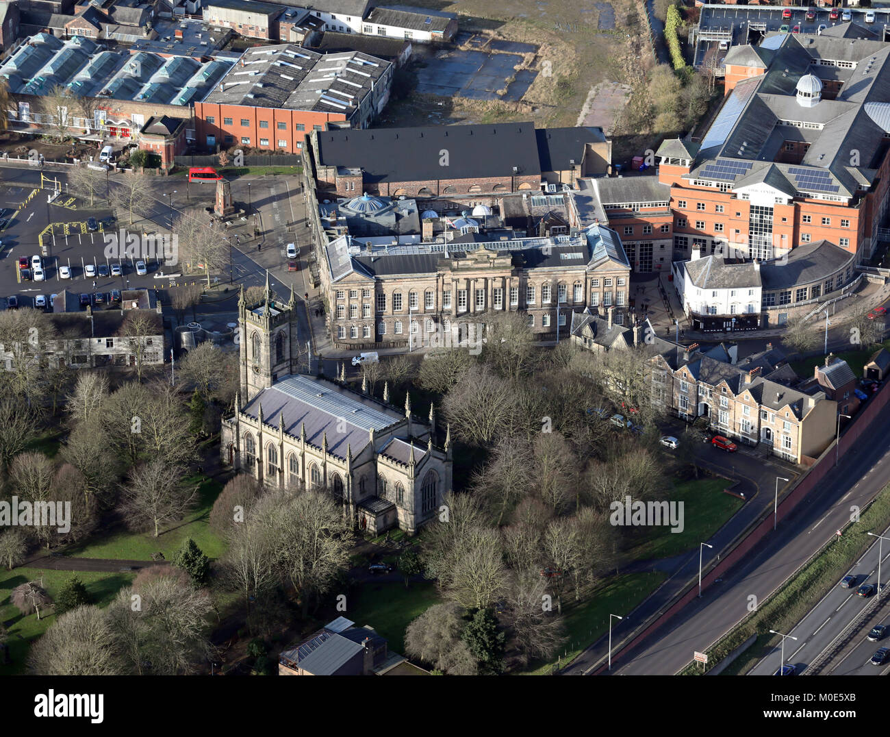 aerial view of Stoke Minster & Town Hall, Stoke-on-Trent, UK - Stock Image