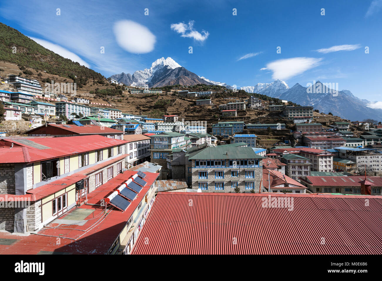 A view from a hotel in Namche Bazaar, Nepal - Stock Image