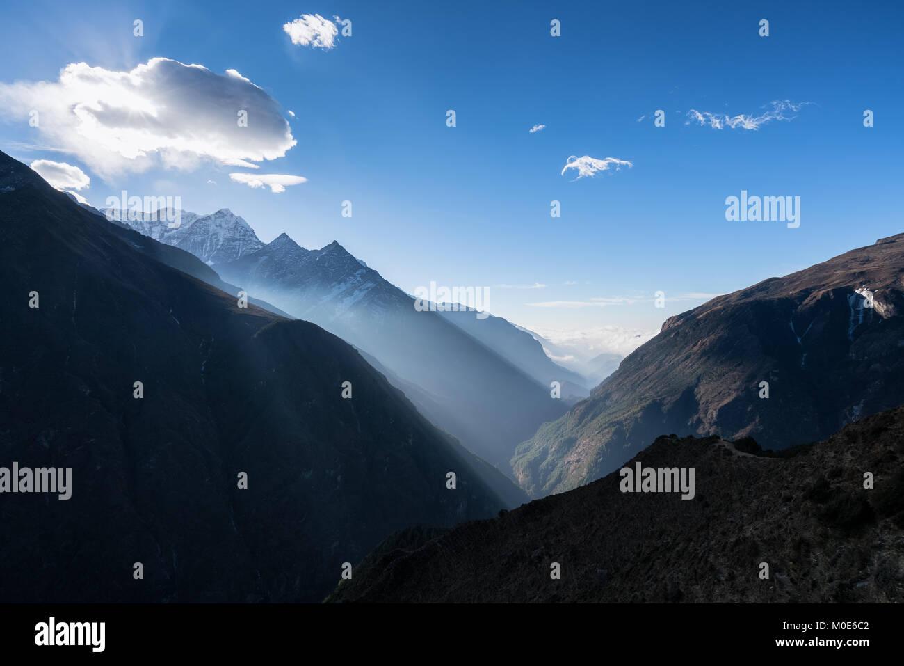 Khumbu valley views near Namche Bazaar, Nepal - Stock Image