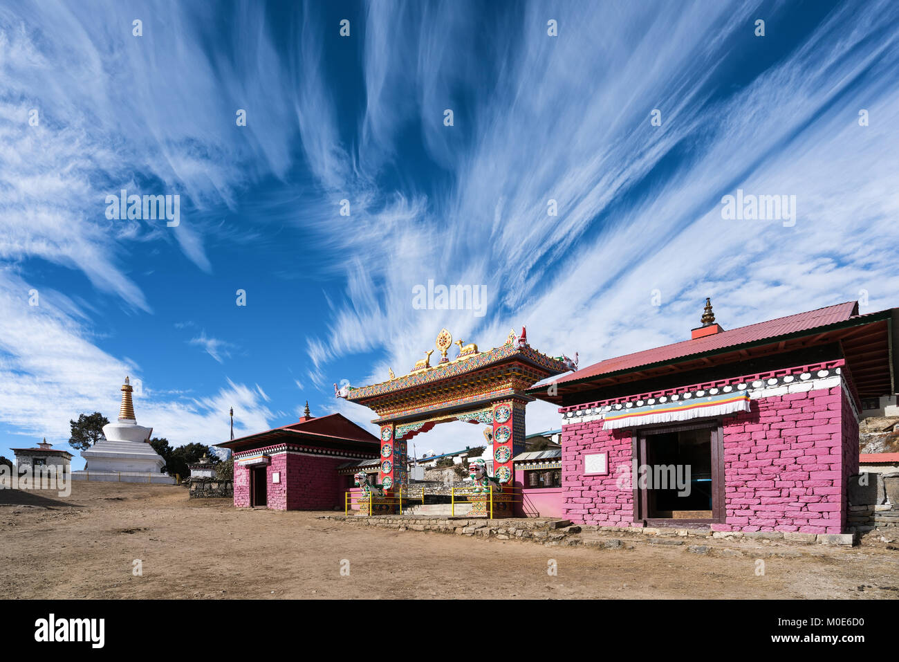 Tengboche Monastery on the Everest base camp and three passes trek, Nepal - Stock Image