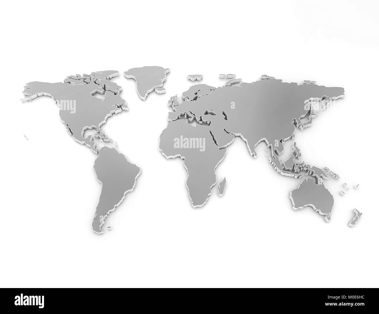High quality 3d render. World map made og metal isolated on ...