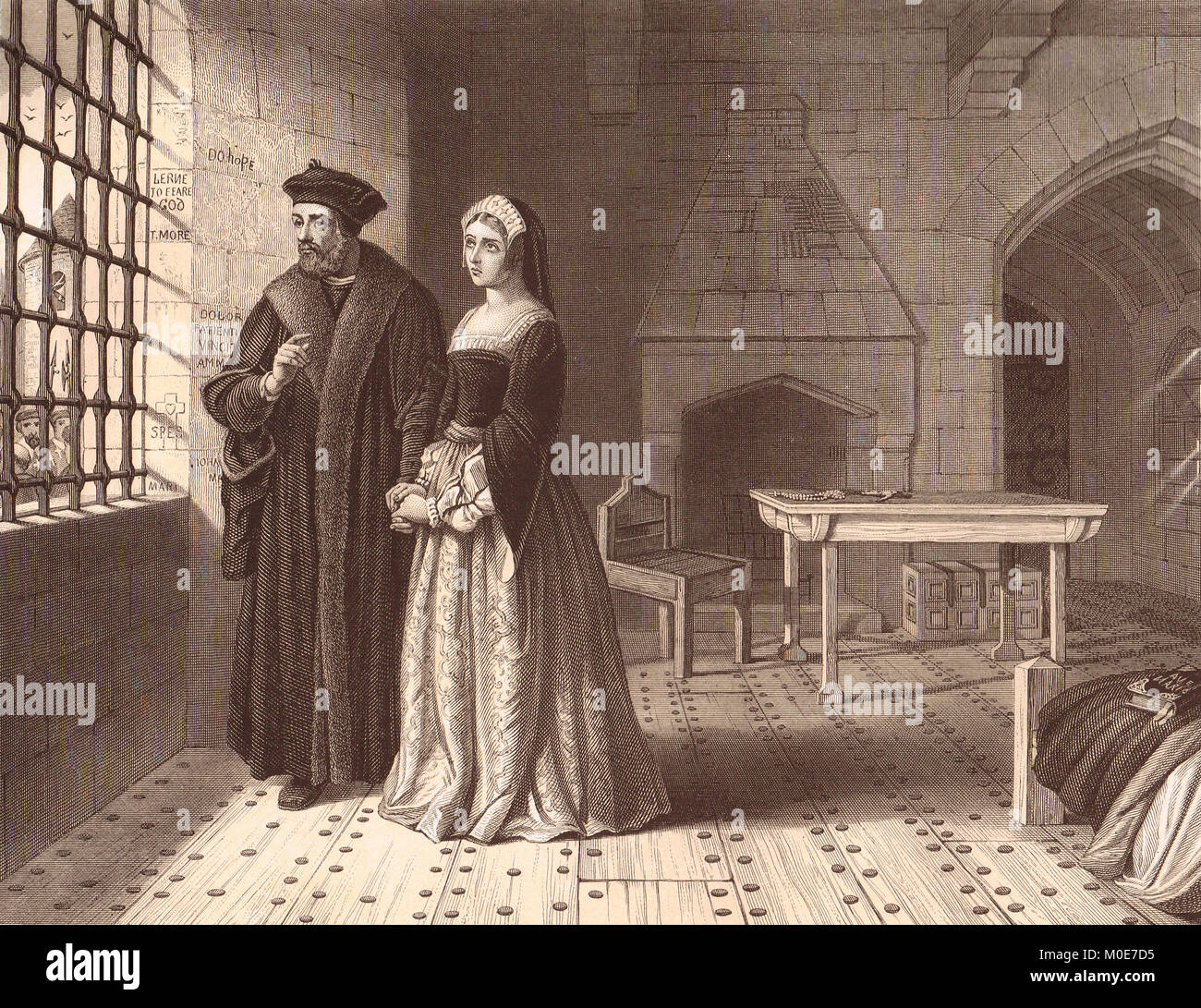 Sir Thomas More, in Jail 1535, visited by his daughter Margaret Roper - Stock Image