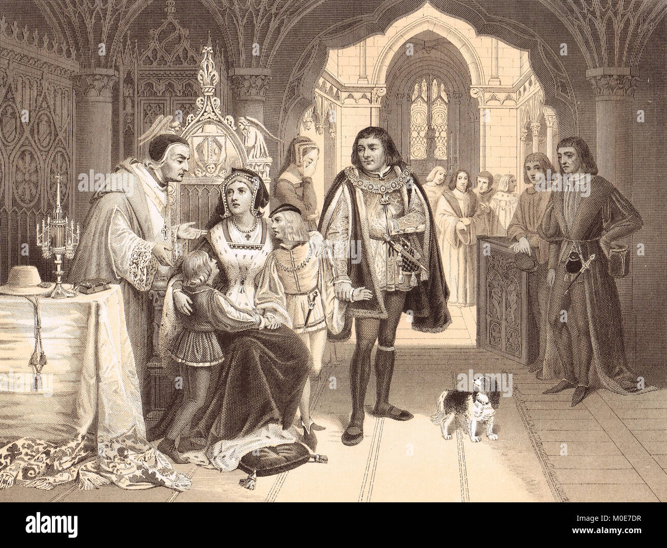 The sons of Edward IV parted from their mother by Richard Duke of Gloucester, June 16th 1483 - Stock Image