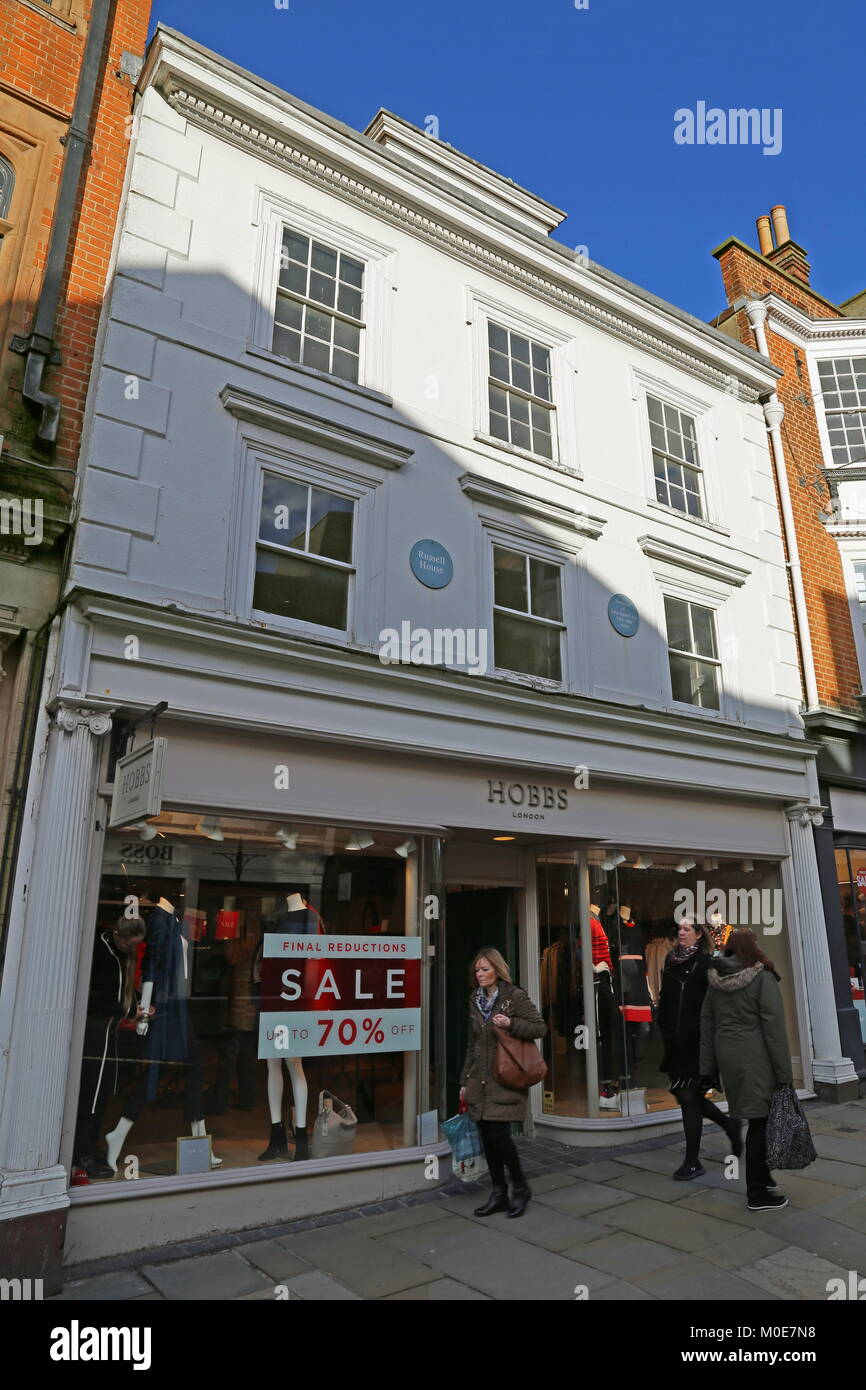 Russell House, birthplace of artist John Russell, High Street, Guildford, Surrey, England, Great Britain, United - Stock Image