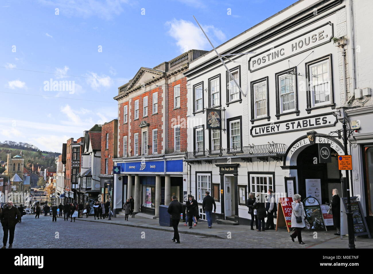 Angel Hotel, High Street, Guildford, Surrey, England, Great Britain, United Kingdom, UK, Europe - Stock Image