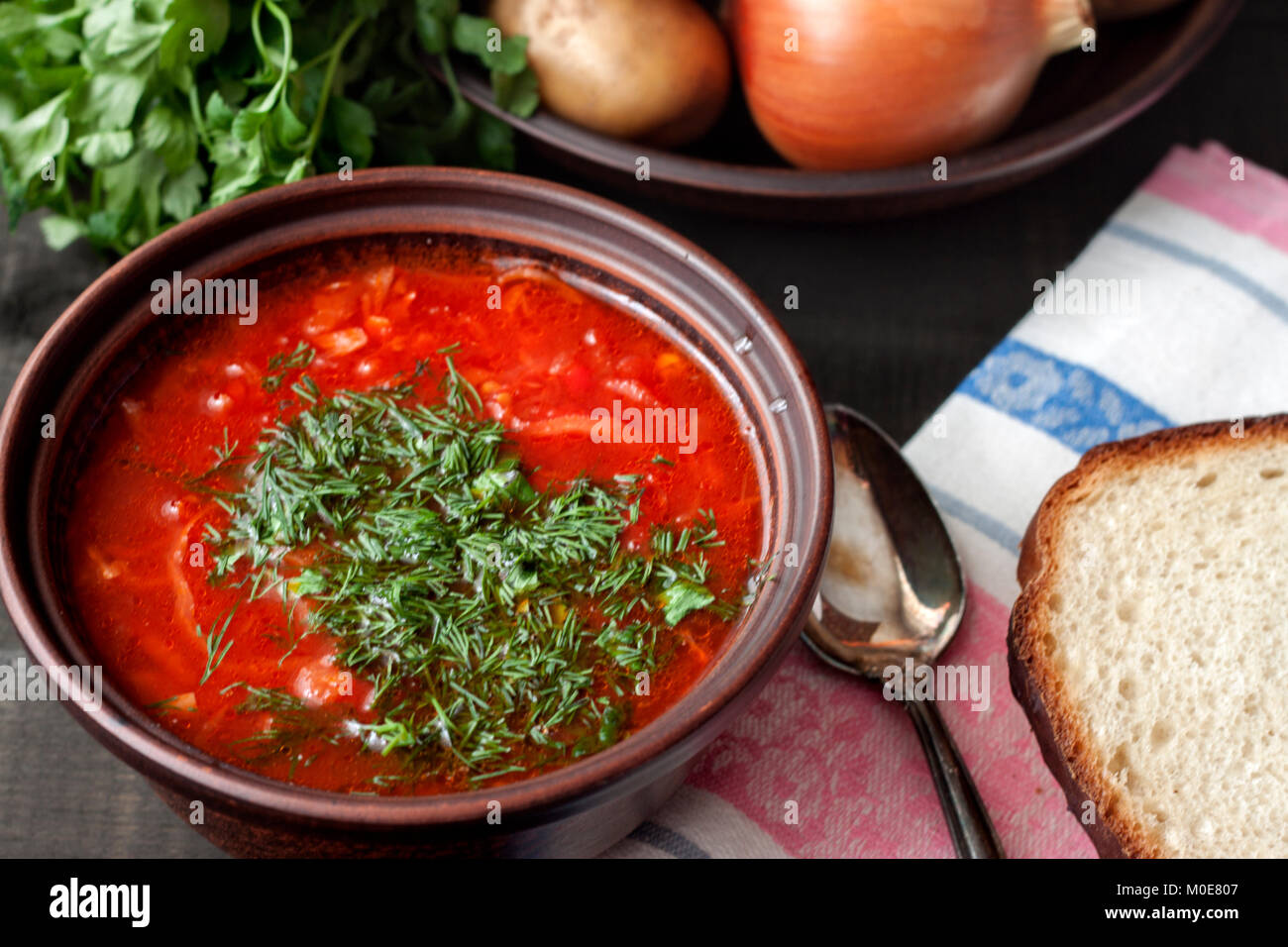 Red borsch. Ukrainian food. - Stock Image