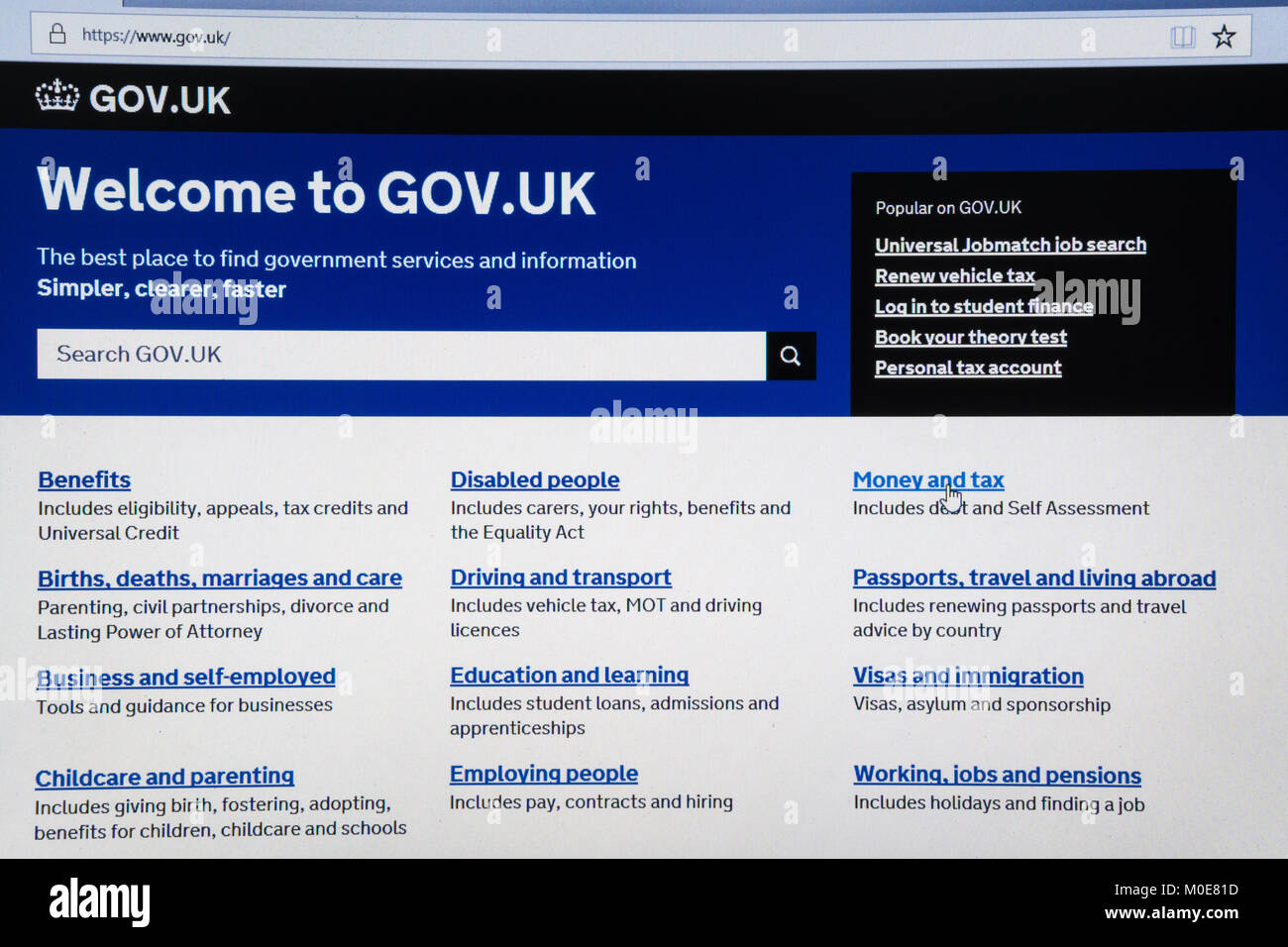 Computer screenshot of gov.uk website homepage 2018 - Stock Image