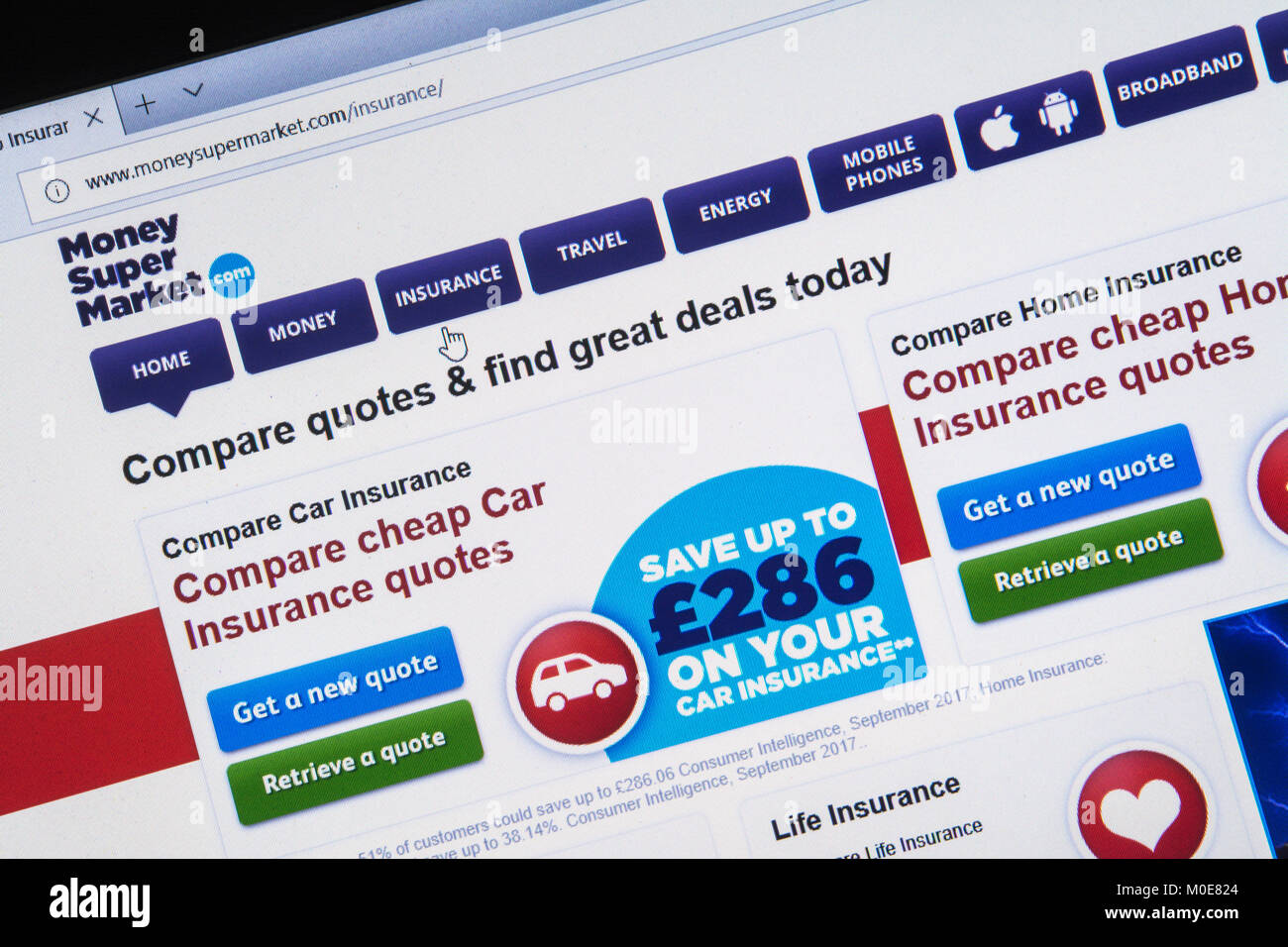 Computer screenshot of price comparison website money supermarket.com - information about cheap car insurance quotes - Stock Image