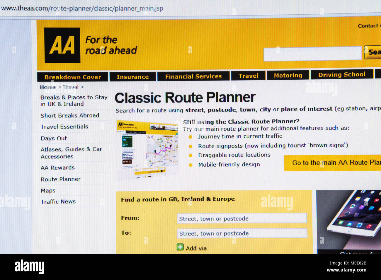 Computer screenshot of AA (automobile association) classic route planner website - Stock Image