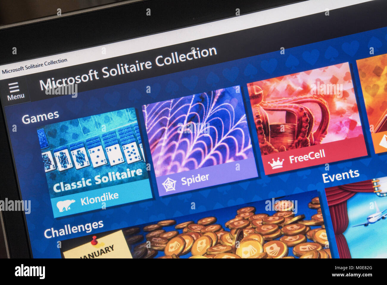 Computer screenshot of Microsoft solitaire game collection - Stock Image