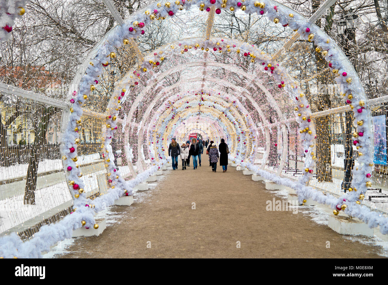 MOSCOW, RUSSIA - January 13.2018: Light tunnel on Tverskoy Boulevard. A Christmas tunnel with colorful glowing lights - Stock Image