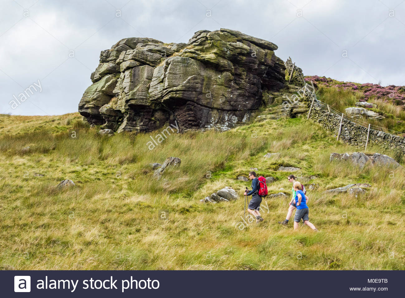 Walkers near to Cold Stone in the Forest of Bowland in Lancashire, an Area of Outstanding Natural Beauty (AONB) - Stock Image