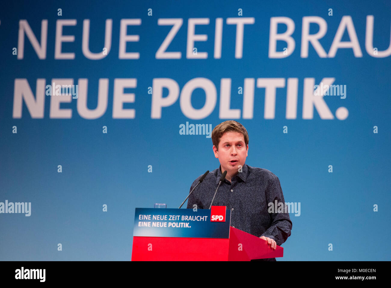 Bonn, Germany. 21 January 2018. Kevin Kühnert, leader of SPD youth party organisation Jusos/Young Socialists. - Stock Image
