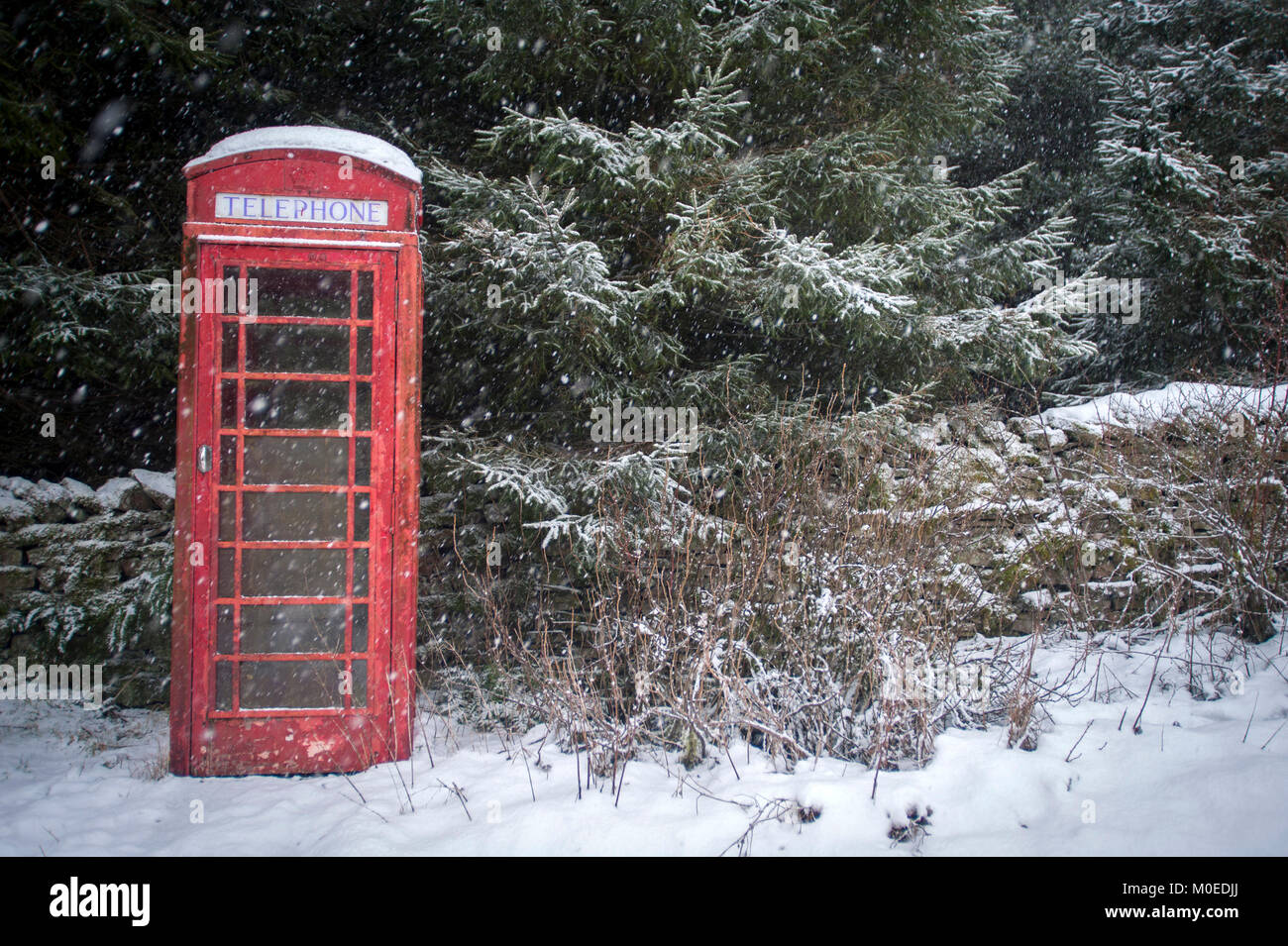 """Garsdale, UK. 21st Jan, 2018. With the Met Office giving a yellow """"be aware"""" warning in place to large parts of - Stock Image"""