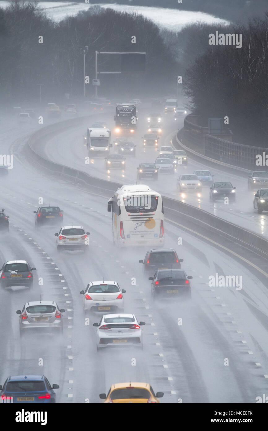 U K  Weather  M1 motorway, Chesterfield, England  21st January 2018